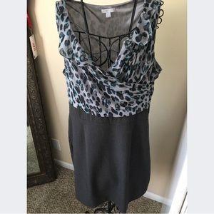 NY & Co Leopard Print Bodice Dress Size 18